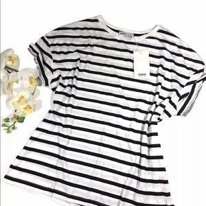Zara Trafaluc Top shirt Striped Black & White S